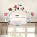 White Glass Floral Ceiling Lamp Traditional 1 Head Dining Room Suspension Pendant Light