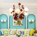 Metal White Ceiling Chandelier Bell 3/6 Bulbs Countryside LED Hanging Light Kit for Living Room