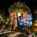Metal Bare Bulb Drop Lamp Vintage 1 Light Restaurant LED Pendant Lighting in Green with Flower Decoration