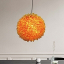 Orange 1 Bulb Pendant Lamp Antique Metal Globe Flower Suspension Light for Restaurant, 12