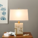 Contemporary 1 Bulb Table Light White Trapezoid Nightstand Lamp with Fabric Shade