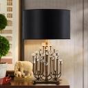 Cylindrical Fabric Table Lamp Modernist 1 Bulb Black Desk Light with Crystal Ball