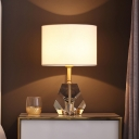 White Geometric Desk Lamp Modern 1 Bulb Clear Crystal Table Light with Fabric Shade