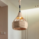 Industrial Onion/Hourglass Pendant 1 Head Rope Ceiling Hang Fixture for Restaurant in Beige, 8