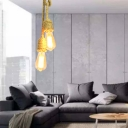Beige 2 Heads Cluster Pendant Light Antiqued Rope Knots Hanging Ceiling Lamp with Bare Bulb Design