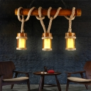 Bamboo Wood Pendant Light Fixture Tubular 3 Heads Farmhouse Island Lamp with Rope Arm