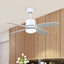 4 Blades White LED Pendant Fan Lamp Contemporary Metal Cylinder Semi Flush Mounted Light, 42