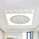 Metal White Pendant Fan Light Square LED Simple Semi Flush Mount Lighting Fixture with 3 Blades for Living Room, 21.5