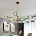 Sputnik Chandelier Modern Metal 8 Bulbs Living Room Pendant Light Fixture with Globe Blue Glass Shade