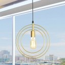 3-Ring Down Lighting Simple Metal 1 Light Gold Pendant Lamp Fixture for Living Room
