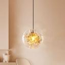 Globe Restaurant Ceiling Lighting Clear Glass 1-Head Modernist Hanging Pendant Lamp in Gold with Inner Shattered Leaves Detail