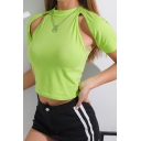Chic Green Short Sleeve Mock Neck Cut Out Slim Fit Cropped T Shirt for Women
