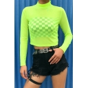 Stylish Girls Long Sleeve High Neck Semi-Sheer Mesh Fitted Crop Tee in Fluorescent Green