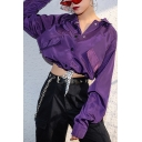 Pretty Cool Girls Long Sleeve Lapel Collar Button Down Flap Pocket Drawstring Hem Relaxed Shirt in Purple