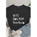 Korean Girls Short Sleeve Crew Neck Letter WIFE DOG MOM TEACHER Relaxed Fit Graphic Tee