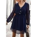 Fashionable Ladies Long Sleeve V-Neck Button Up Polka Dot Sheer Mesh Plain Mini A-Line Dress