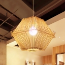 Asian Style Geometric Suspension Light 1 Light Bamboo Weave Pendant Lamp with/without Shade