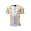 Trendy Boys Short Sleeve Crew Neck Floral Geometric Printed Fitted T Shirt