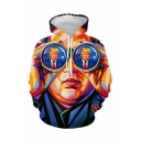 Funny Trendy Unisex Long Sleeve Drawstring Trump 3D Printed Loose Fitted Hoodie in Blue