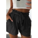 Chic Ladies Solid Color Bow Tied Waist Pockets Side Straight Shorts