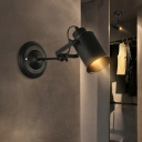 Cylinder Metal Wall Mount Sconce Industrial 1 Bulb Corner Wall Lighting in Black with Adjustable Handle