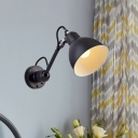 1 Bulb Sconce Lighting Vintage Dome Metallic Wall Mount Lamp Fixture in Black for Bedside