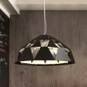 Iron Diamond Shape Pendant Light Fixture Contemporary 3 Heads Ceiling Chandelier in Black