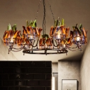 Iron Rust Hanging Chandelier Ring 9 Bulbs Art Deco Pendant Ceiling Light with Red-Blue-Green Feather Deco
