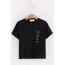 Fashionable Girls Short Sleeve Round Neck Letter LOVE Heart Graphic Relaxed Fit T Shirt