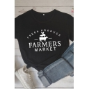 Chic Simple Womens Roll Up Sleeves Letter FARMERS MARKET Animal Printed Slim Fitted Tee Top