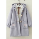 Pretty Girls Blouson Sleeve Button Down Rabbit Embroidery Pockets Side Thick Long Oversize Duffle Coat