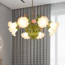 Milk Glass Green Chandelier Lighting Rose 6/8 Heads Country Style Hanging Light Fixture for Restaurant