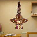 Copper Jar Pendant Lamp Tradition Metal 1 Head Hanging Ceiling Light with Crystal Teardrop