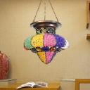 1 Head Metal Pendant Light Traditionary Purple/Pink/White Jar Restaurant Suspended Lighting Fixture