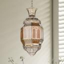 Faceted Restaurant Ceiling Lamp Arabian Metal 1 Head Brass Hanging Pendant Light
