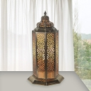 Hollow Metal Night Table Lighting Vintage 1 Light Living Room Nightstand Lamp in Bronze