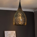 Onion/Teardrop Metal Down Lighting Pendant Antique 1 Head 9