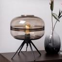 Contemporary Cylinder Task Lighting Cognac Glass 1 Bulb Living Room Small Desk Lamp