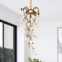 Brass 21 Heads Chandelier Lighting Pastoral Metal Tulip LED Pendant Ceiling Light for Cafe