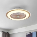 Round Living Room Semi Flushmount Kids Acrylic Pink/Blue/Gold LED Ceiling Fan Lighting with 5 Clear Blades, 23.5