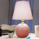 1 Head Bedside Task Lighting Modernist Pink Night Table Lamp with Conical Fabric Shade