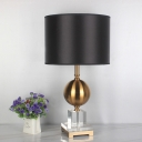 Fabric Drum Table Light Modernist 1 Bulb Black Nightstand Lamp with Gold Metal Ball