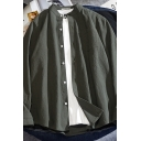 Leisure Fashion Men's Long Sleeve Stand Collar Button Down Loose Fit Plain Shirt