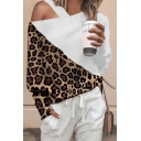 Stylish Girls' Long Sleeve Cold Shoulder Leopard Printed Patchwork Relaxed Fit T-Shirt