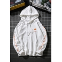 Popular Guys' Long Sleeve Drawstring Maple Leaf Printed PAREOAKICE FUKKES Letter Pouch Pocket Relaxed Hoodie