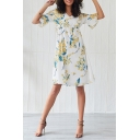 Leisure Fashion Women's Short Sleeve V-Neck All-Over Floral Print Ruched Midi A-Line Dress in White