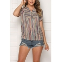 Simple Popular Women's Short Sleeve V-Neck Button Front Striped Loose Fit T Shirt in Gray