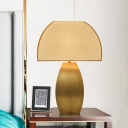 1 Head Curved Task Lighting Modernism Fabric Night Table Lamp in Gold for Bedroom