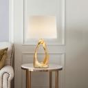 Tubular Desk Light Modernist Fabric 1 Head White Nightstand Lamp for Living Room