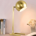1 Head Bedroom Task Light Modernism Gold Night Table Lamp with Spherical Metal Shade